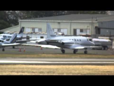 Classic Biz jet in San Juan! Sabreliner Jet taxy at Isla Grande Airport
