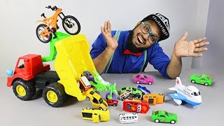 Box Full Of Toys McQueen Cars Disney Cars - Learn Street Vehicles Names Sounds with Pewpi
