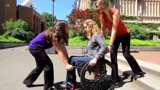 Stairs with Spotters: SCI Empowerment Project Wheelchair Skills Video 16
