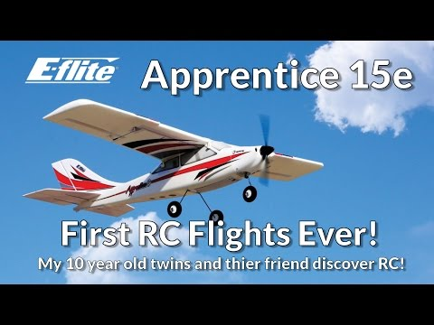 A 10 Year old Kid Fly The E-Flite Apprentice S 15e - Beginner's First Flights - Learn To Fly