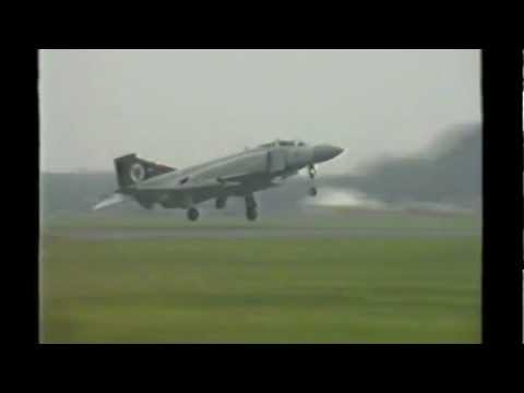 RAF Finningley Airshow 1992 RAF Phantom display taxing and take off.mp4
