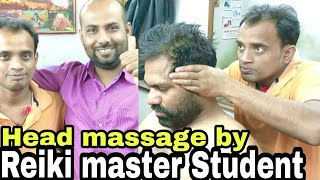 ASMR head massage therapy by Reiki Master students with neck cracking.