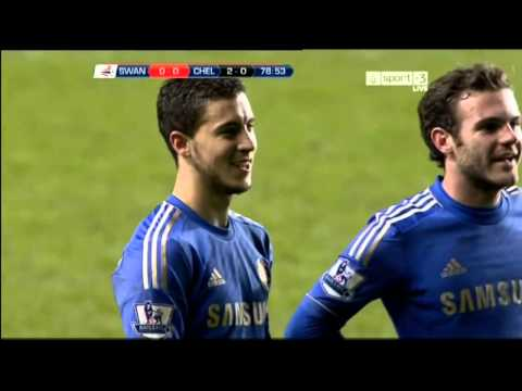 Eden Hazard kicks ball boy
