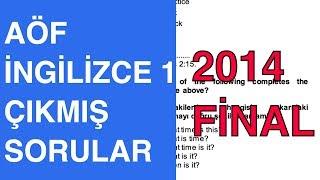AÖF İngilizce 1 - 2013-2014 Güz Çıkmış Soru Çözümleri (Final)