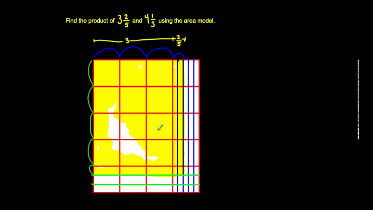 5 Nf 6 Multiply Mixed Numbers Area Model Youtube