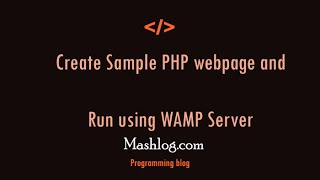 Create Sample php web page with WAMP server Mp3