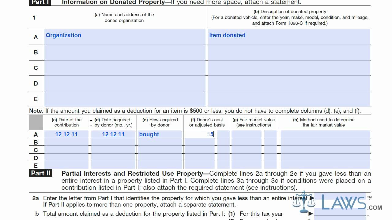 Learn How to Fill the Form 8283 Noncash Charitable Contributions – Non Cash Charitable Contributions Worksheet