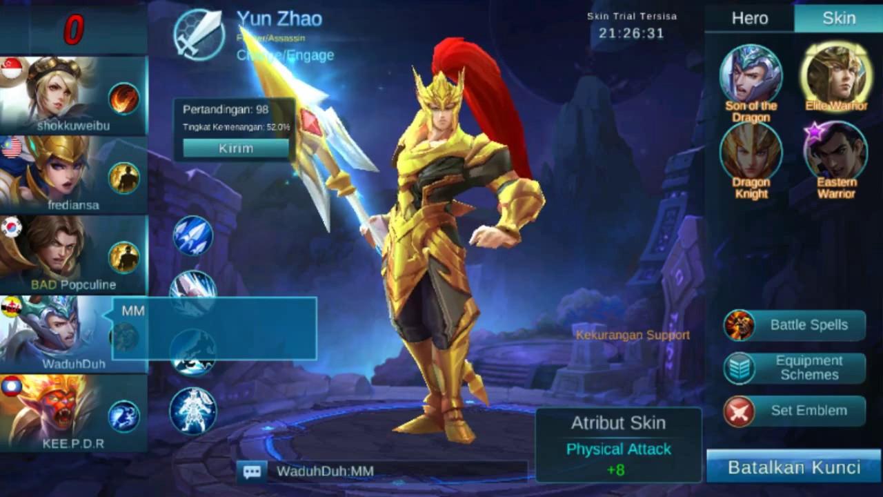 zilong build push ranked and skin elite warrior mobile legends bang bang