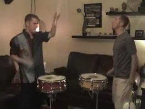 A demonstration of a duet played by Aaron Bland and Aaron Bland on two different snare drums.