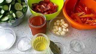Салат из огурцов с томатным соусом. Тещин язык. Заготовки на зиму.