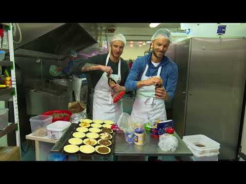 Jono and Ben make pies at a West Auckland bakery