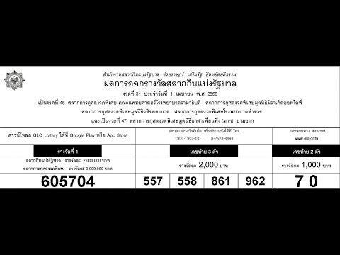 ตรวจหวย 1/04/58 ผลสลากกินแบ่งรัฐบาล 1 เมษายน 2558