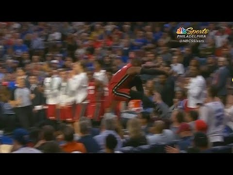 Dwyane Wade Jumps Over Entire Crowd To Get The Rebound! Heat vs Sixers