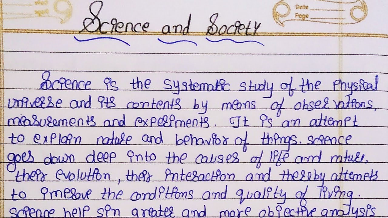 Essay society science example of cover page for research paper