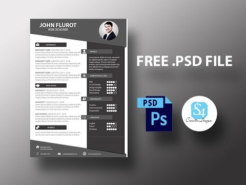Create Cv Template With Photoshop Free Psd File Youtube