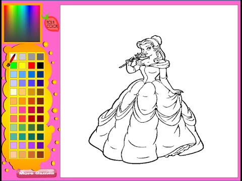 Princess Belle Coloring Pages Princess Belle Games Youtube