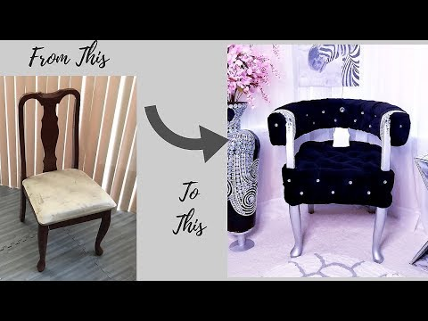 DIY CRYSTAL TUFTED CHAIR WITH HOOPS!!! INEXPENSIVE ROOM DECORATING IDEA 2019