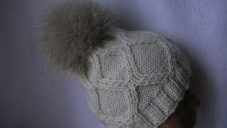 Вязание шапки  с ромбами.(Мастер-класс по вязанию шапки на 5 (пяти) спицах без шва.Рапорт узора состоит с 16 петель., 2015-12-30T08:53:33.000Z)