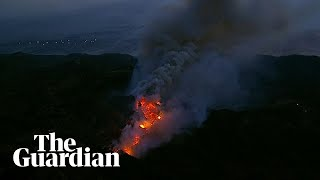 Aerial footage shows California fire continues to burn