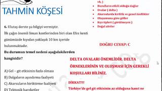 KPSS COĞRAFYA- 5. Türkiye'nin Yer şekilleri - Soru örnekleri