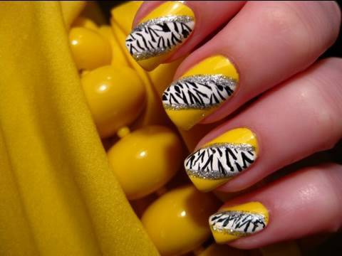 Yellow Zebra Nail Art Youtube
