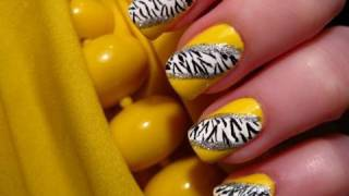 Yellow Zebra Nail Art