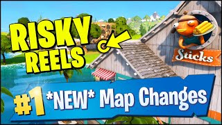 *NEW* MAP CHANGES, WATER LEVEL EVENT - RISKY REELS DESTROYED & FISH STICKS HOUSE NEW POIS (Fortnite)