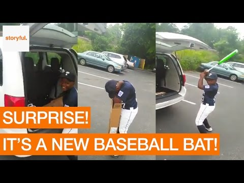 Father Surprises Son With Birthday Baseball Bat (Storyful, Cute)