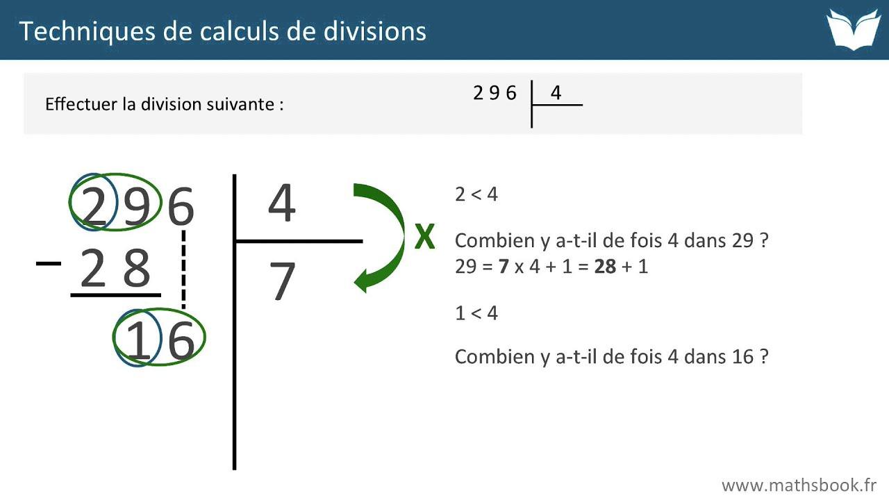 Division Techniques De Calculs Cours De Maths Youtube