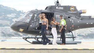 EXCLUSIVE - Kimberley Garner arrives in Cannes by Helicopter