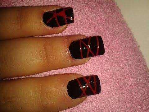 Nail art tutorial how to Schwarz / Rot Black / Red DIY EnnyRie _ Enny Naildesign_