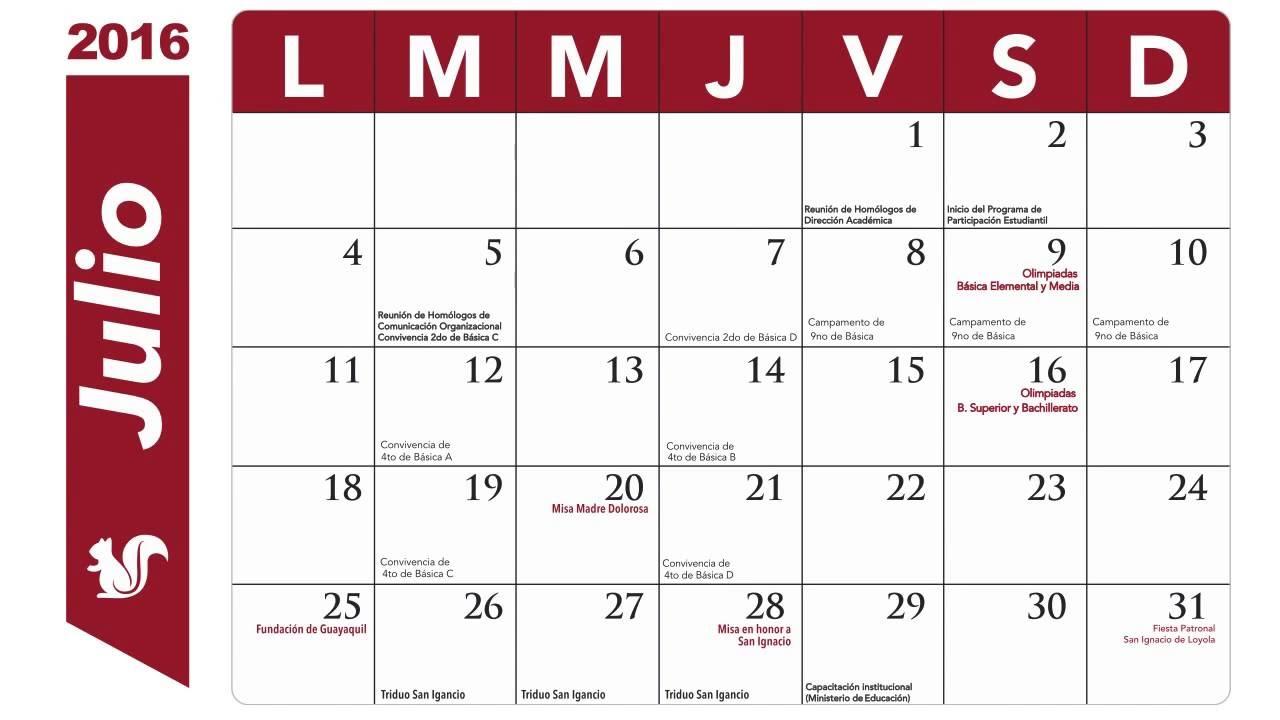 Mes De Julio Calendario.Calendario De Actividades De Julio