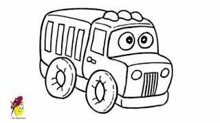 Cartoon fire truck - how to draw a Fire Truck