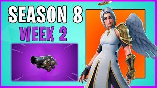 Fortnite Season 8 Week 2 - All Challenge Guide (Secret Banner, N/S/E/W Locations, cannons!)