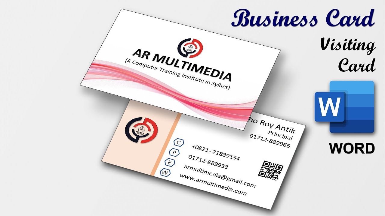 Double Sided Business Card Design in Microsoft Word 21  MS Word  Visiting Card [AR MULTIMEDIA] Within 2 Sided Business Card Template Word