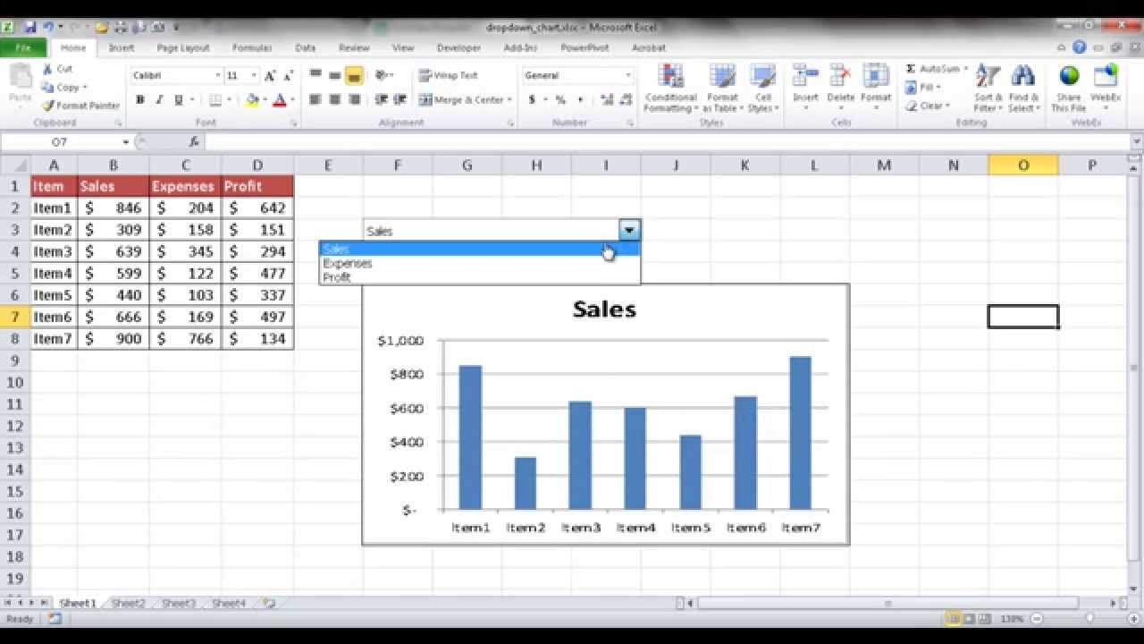 Excel Combo Chart with Dropdown list and Options Button to filter chart in Excel without any VBA