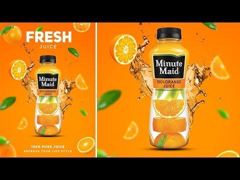 Photoshop Tutorial - Orange Juice Advertising Poster Design