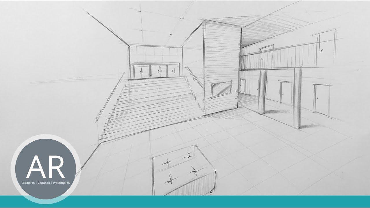 Einfach perspektivisch zeichnen lernen zwei punkt perspektive in der bewerbungsmappe - Architektur zeichnen ...