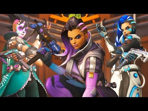 Overwatch SOMBRA - ALL SKINS / EMOTES / VICTORY POSES / VOICES LINES / SPRAYS / HIGHLIGHT INTROS