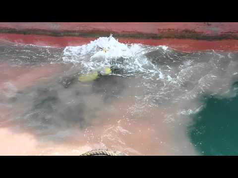 Underwater hull cleaning.