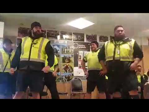 4 Wesley College old boys from air nz performing Wesley haka