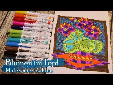Blumen Im Topf - Malen Nach Zahlen Für Erwachsene - Speed Paint