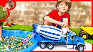 BRUDER CEMENT TRUCK FOR KIDS FILLING POOL WITH ORBEEZ