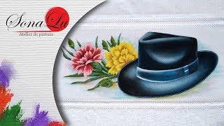 Pintura em Tecido Chapéu com Cravos
