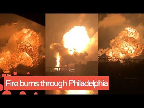 Fire burns through Philadelphia oil refinery causing massive explosion
