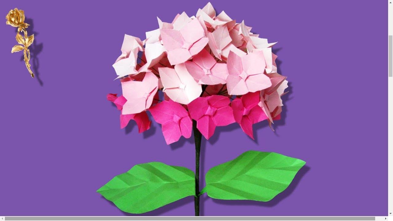 Origami Facile Fleur D Hortensia Hydrangea Avec Feuilles