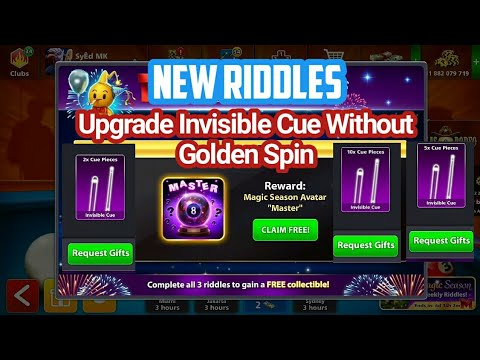 Upgrade Invisible Cue without golden spin   8 Ball Pool 4th Riddles