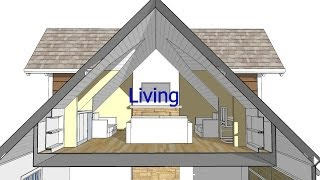 Design An Attic Roof Home With Dormers Using Sketchup.  Quick Overview And Animation