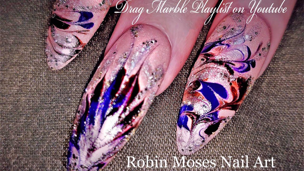No Water Marble Nails | DIY Drag Marble Nail Art Design Tutorial ...
