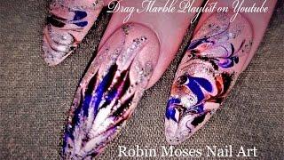 No Water Marble Nails | DIY Drag Marble Nail Art Design Tutorial